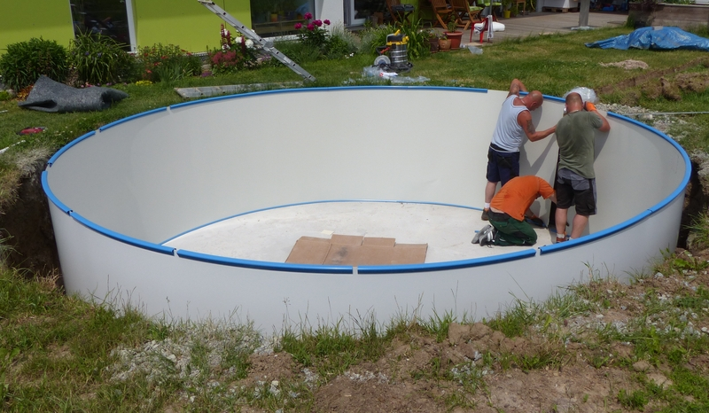 Wandaufstellung pool unser hausbau for Aufbau stahlwandpool